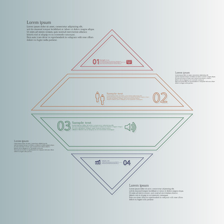 the divided: Illustration infographic template with rhombus on light blue background. Motif is divided to four color parts and created from thin double outlines. Each part contains text, number and simple sign. Illustration