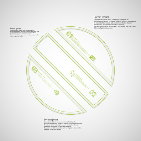 the divided: Illustration infographic template with circle askew divided to three parts created by double outlines from green color. Each part has own number, sign and text. Background is light.