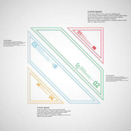 the divided: Illustration infographic template with motif of square rectangle which is divided to four color parts created from double outlines. Each part contains number, sample text and simple sign.