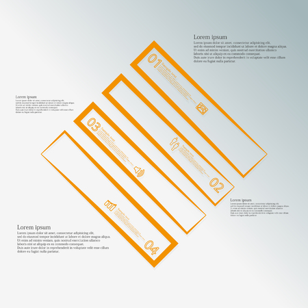 the divided: Illustration infographic template with motif of rhombus which is divided to four orange parts created by outlines on blue background. Each part contains number, text and symbol.