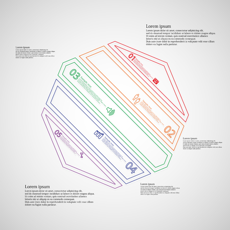 the divided: Octagon infographic illustration template askew divided to five color parts. Each part contain text, number and sign and is created by double outline contour.