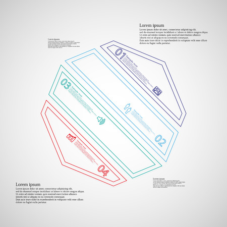 octagon: Octagon infographic illustration template askew divided to four color parts. Each part contain text, number and sign and is created by double outline contour.