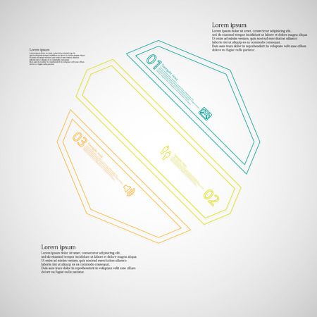 the divided: Octagon infographic illustration template askew divided to three color parts. Each part contain text, number and sign and is created by double outline contour.