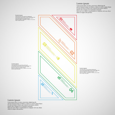 the divided: Illustration infographic template. Bar rectangle motif. Divided cut to five color parts. Each part from double outline contour. Parts with sample text, sign and number. Light gradient background.