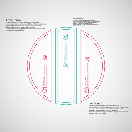 the divided: Illustration infographic template. Circle round motif. Divided cut to three color parts. Each part from double outline contour. Parts with sample text, sign and number. Light gradient background. Illustration