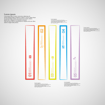 the divided: Illustration infographic template. Bar rectangle motif. Divided cut to five color parts. Each part from outline contour. Parts with sample text, sign and number. Light gradient background. Illustration