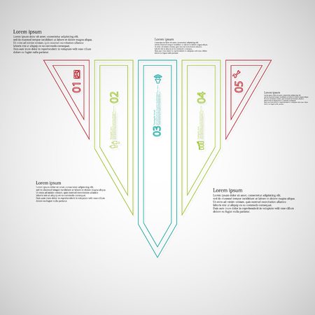 divided: Illustration infographic template with motif of triangle. Triangle divided to five color parts. Each part created by double outline contour. Each part contains number, text and simple sign.