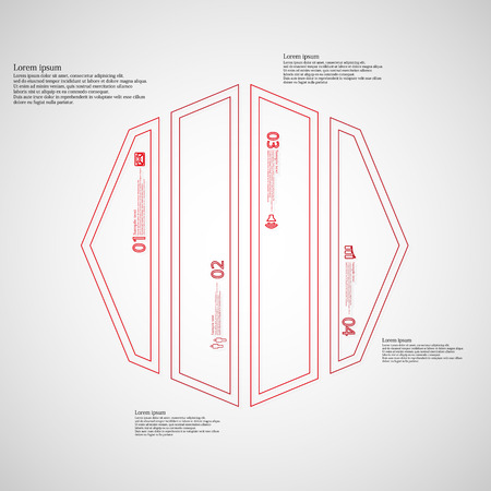 octagon: Illustration infographic template with motif of octagon. Octagon divided to four red parts. Each part created by double outline contour. Each part contains number, text and simple sign.