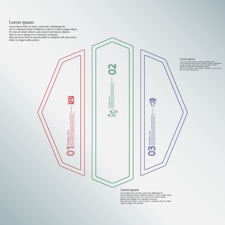 octagon: Illustration infographic template with motif of octagon. Octagon divided to three color parts. Each part created by double outline contour. Each part contains number, text and simple sign. Illustration