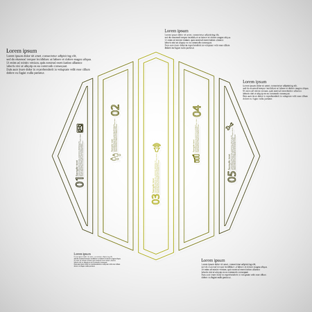 octagon: Illustration infographic template with motif of octagon. Octagon divided to five green parts. Each part created by double outline contour. Each part contains number, text and simple sign.