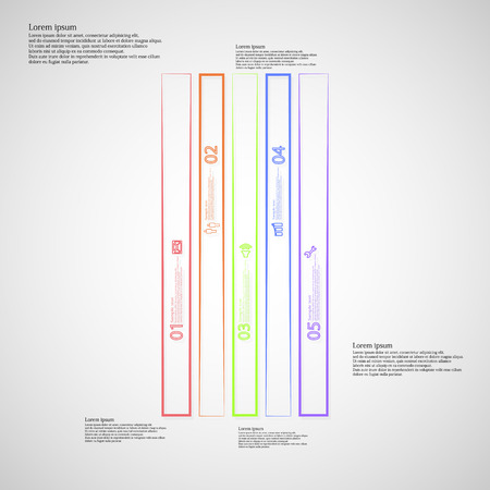 the divided: Illustration infographic template with motif of rectangle bar. Bar divided to five color parts. Each part created by outline contour. Each part contains number, text and simple sign.