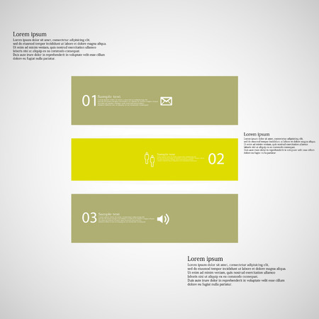 inforgraphic: Illustration inforgraphic with shape of square on light background. Square with green color. Template divided to three parts with text, number and symbol. Each part shifted to each other.