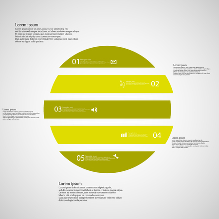 shifted: Illustration inforgraphic with shape of circle on light background. Circle with green color. Template with round shape divided to five parts with text, number and symbol. Each part shifted to each other. Illustration