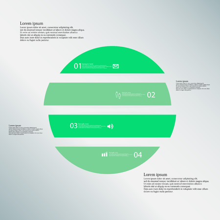 color separation: Illustration inforgraphic with shape of circle on blue background. Circle with green color. Template with round shape divided to four parts with text, number and symbol. Each part shifted to each other. Illustration