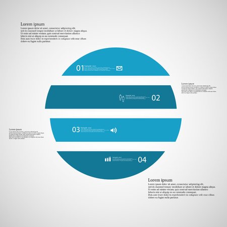 shifted: Illustration inforgraphic with shape of circle on light background. Circle with blue color. Template with round shape divided to four parts with text, number and symbol. Each part shifted to each other.