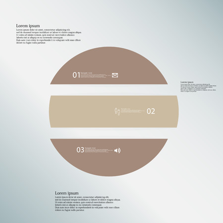 inforgraphic: Illustration inforgraphic with shape of circle on blue background. Circle with brown color. Template with round shape divided to three parts with text, number and symbol. Each part shifted to each other.