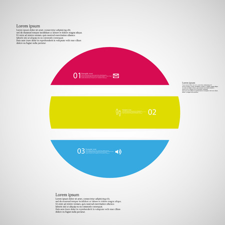 shifted: Illustration inforgraphic with shape of circle on light background. Circle with three colors. Template with round shape divided to three parts with text, number and symbol. Each part shifted to each other.