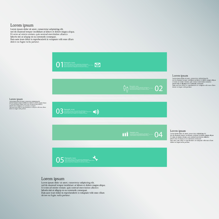 shifted: Illustration inforgraphic with shape of square on blue background. Square with green color. Template divided to five parts with text, number and symbol. Each part shifted to each other. Illustration