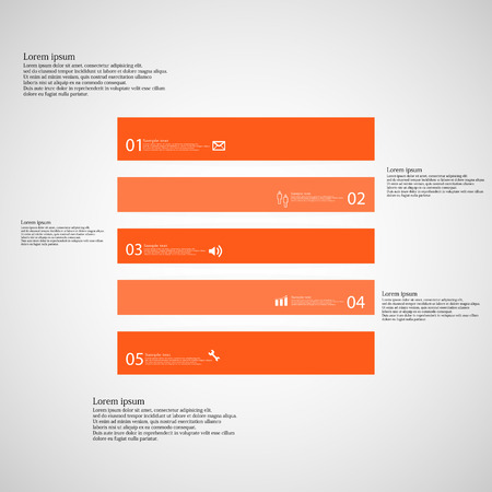 inforgraphic: Illustration inforgraphic with shape of square on light background. Square with orange color. Template divided to five parts with text, number and symbol. Each part shifted to each other. Illustration