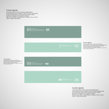 inforgraphic: Illustration inforgraphic with shape of square on light background. Square with green color. Template divided to four parts with text, number and symbol. Each part shifted to each other.