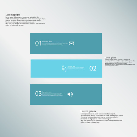 shifted: Illustration inforgraphic with shape of square on blue background. Square with blue color. Template divided to three parts with text, number and symbol. Each part shifted to each other. Illustration