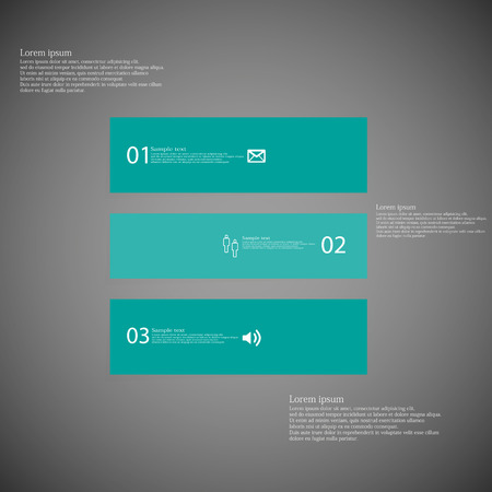 shifted: Illustration inforgraphic with shape of square on dark background. rectangle with blue color. Template with square shape divided to three parts with text, number and symbol. Each part shifted to each other. Illustration