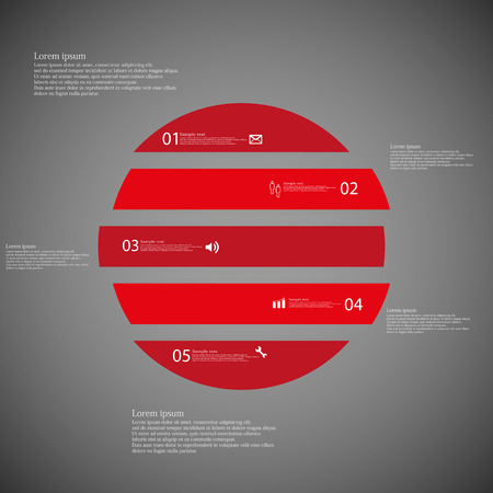 shifted: Illustration inforgraphic with shape of circle on dark background. Circle with red color. Template with round shape divided to five parts with text, number and symbol. Each part shifted to each other.