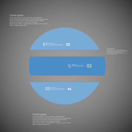 inforgraphic: Illustration inforgraphic with shape of circle on dark background. Circle with blue color. Template with round shape divided to three parts with text, number and symbol. Each part shifted to each other.