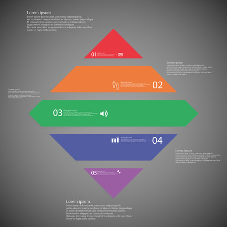 shifted: Illustration inforgraphic with shape of rhombus on dark background. Square with various color. Template with rectangle shape divided to five parts with text, number and symbol. Each part shifted to each other.