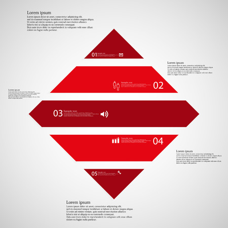 inforgraphic: Illustration inforgraphic with shape of rhombus on light background. Square with red color. Template with rectangle shape divided to five parts with text, number and symbol. Each part shifted to each other.