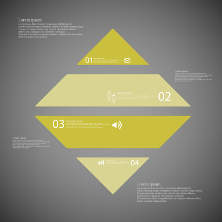 shifted: Illustration inforgraphic with shape of rhombus on dark background. Square with green color. Template with rectangle shape divided to four parts with text, number and symbol. Each part shifted to each other. Illustration