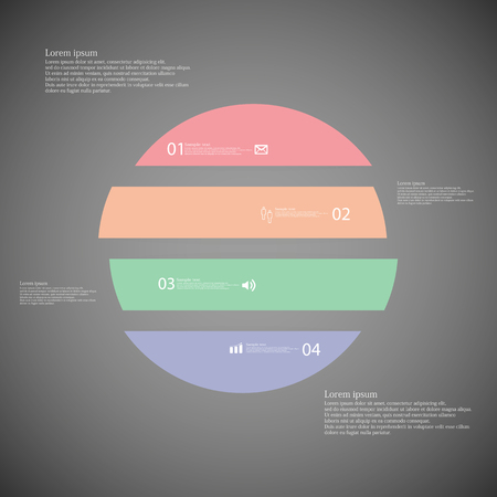 inforgraphic: Illustration inforgraphic with shape of circle on dark background. Circle with various color. Template with round shape divided to four parts with text, number and symbol. Each part shifted to each other. Illustration