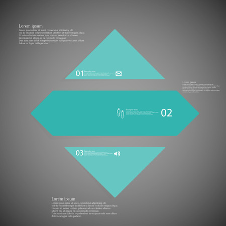 shifted: Illustration inforgraphic with shape of rhombus on dark background. Square with blue color. Template with rectangle shape divided to three parts with text, number and symbol. Each part shifted to each other.