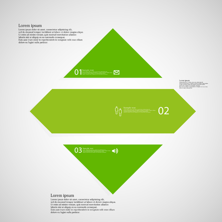shifted: Illustration inforgraphic with shape of rhombus on light background. Square with green color. Template with rectangle shape divided to three parts with text, number and symbol. Each part shifted to each other. Illustration