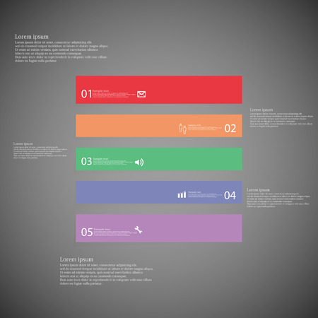 inforgraphic: Illustration inforgraphic with shape of square on dark background. Rectangle with various color. Template with square shape divided to five parts with text, number and symbol. Each part shifted to each other. Illustration