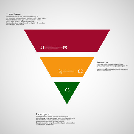 inforgraphic: Illustration inforgraphic with shape of triangle on light background. Triangle with various color. Template with triangle shape divided to three parts with text, number and symbol.
