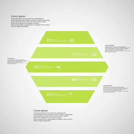 inforgraphic: Illustration inforgraphic with shape of hexagon on light background. Hexagon with green color. Template with hexagonal shape divided to five parts with text, number and symbol.