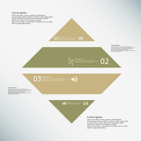 divided: Illustration inforgraphic with shape of rhombus on light background. Rectangle with brown color. Template with square shape divided to four parts with text, number and symbol.