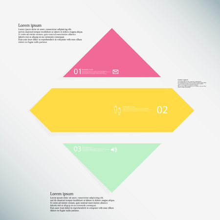 inforgraphic: Illustration inforgraphic with shape of rhombus on light background. Rectangle with various color. Template with square shape divided to three parts with text, number and symbol. Illustration