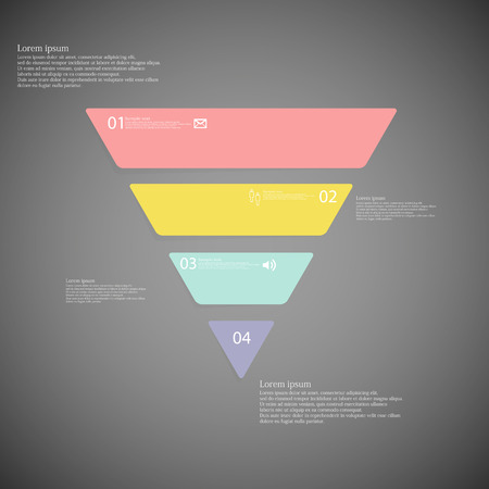 inforgraphic: Illustration inforgraphic with shape of triangle on dark background. Triangle with various color. Template with triangle shape divided to four parts with text, number and symbol. Illustration