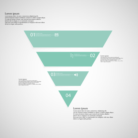 Illustration inforgraphic with shape of triangle on light background. Triangle with bluegreen color. Template with triangle shape divided to four parts with text, number and symbol.