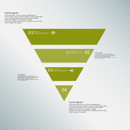 horizontally: Illustration infographic template with shape of triangle. Object horizontally divided to four parts with green color. Each part contains Lorem Ipsum text, number and simple sign. Background is blue.