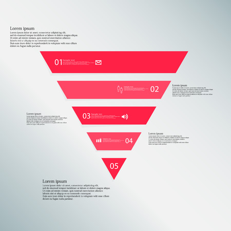 horizontally: Illustration infographic template with shape of triangle. Object horizontally divided to five parts with red color. Each part contains Lorem Ipsum text, number and simple sign. Background is blue.