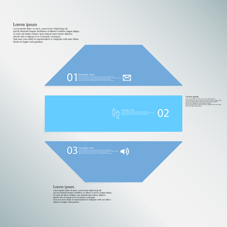 the divided: Illustration infographic template with shape of octagon. Object horizontally divided to three parts with blue color. Each part contains Lorem Ipsum text, number and sign. Background is blue.
