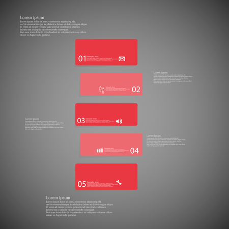shifted: Illustration infographic template with shape of bar. Object horizontally divided to five shifted parts with red color. Each part contains Lorem Ipsum text, number and sign. Background is dark.