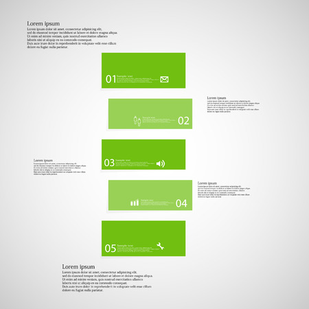shifted: Illustration infographic template with shape of bar. Object horizontally divided to five shifted parts with green color. Each part contains Lorem Ipsum text, number and sign. Background is light.