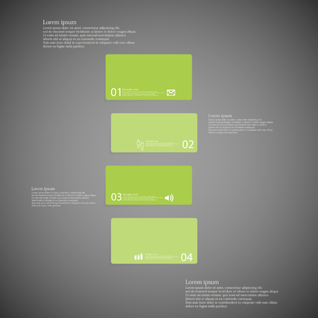 shifted: Illustration infographic template with shape of bar. Object horizontally divided to four shifted parts with green color. Each part contains Lorem Ipsum text, number and sign. Background is dark.