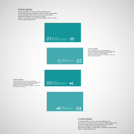shifted: Illustration infographic template with shape of bar. Object horizontally divided to four shifted parts with blue color. Each part contains Lorem Ipsum text, number and sign. Background is light. Illustration