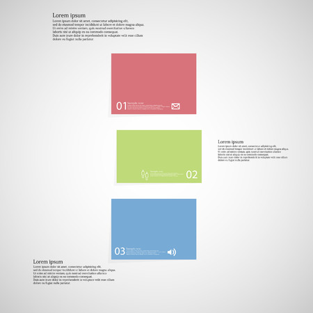 shifted: Illustration infographic template with shape of bar. Object horizontally divided to three shifted parts with various color. Each part contains Lorem Ipsum text, number and sign. Background is light. Illustration