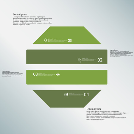 divided: Illustration infographic template with shape of octagon. Object horizontally divided to four parts with green color. Each part contains Lorem Ipsum text, number and sign. Background is blue.